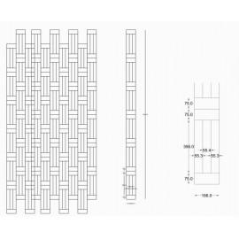 WASHUUS Design. Lamel Eg 3 stav. Hollandsk Mønster. 2 stave på tværs. Select. Dim. 22 x 166 x 3036 mm. Natur matlak.