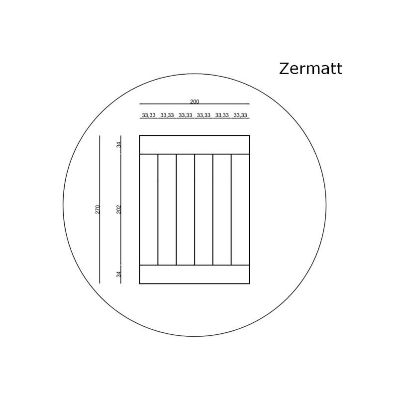 Lamel Eg 6 stav. Hollandsk Mønster. 2 stave på tværs. Zermatt. Select. Dim. 22 x 200 x 2700 mm. Natur matlak.