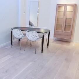 Lamel Eg Planker. Natur. Dim. 15 x 185 mm. Hvid matlak.