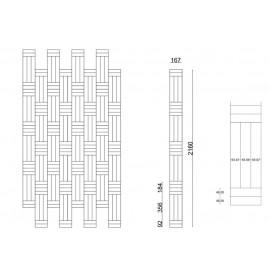 Lamel Eg 3 stav. Hollandsk Mønster. 4 stave på tværs. Therwill. Select. Dim. 22 x 167 x 2160 mm. Ubehandlet.