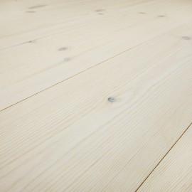 Baseco Golv. TREND. Massiv Fyr Planker. Standard. Dim. 14 x 113 mm. Hvid voks behandlet.