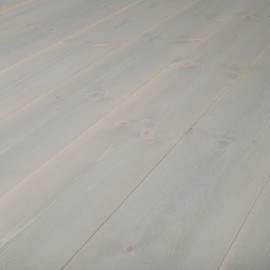 Baseco Golv. TREND. Massiv Fyr Planker. Standard. Dim. 14 x 113 mm. Grå voks behandlet.