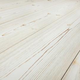Baseco Golv. ANTIK. Massiv Fyr Planker. Standard. Børstet. Dim. 25 x 180 mm. Hvid Mat lak behandlet.